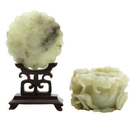 Lot of 2 Carved Jade Sculptures