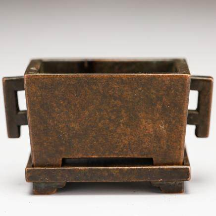CHINESE QING DYNASTY BRONZE CENSER WITH STAND