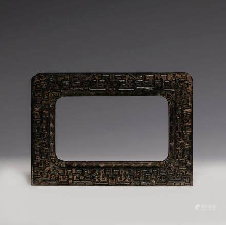 CHINESE QING DYNASTY ZITAN WOOD FRAME