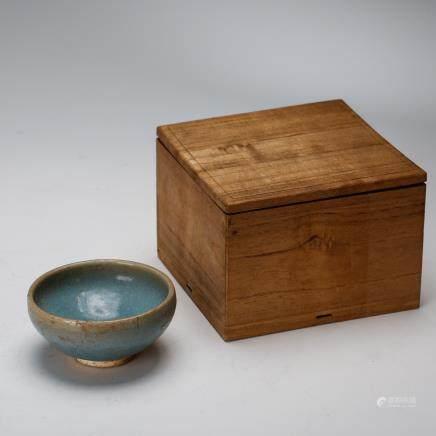 CHINESE JUN WARE TEA BOWL WITH ORIGINAL BOX, QING