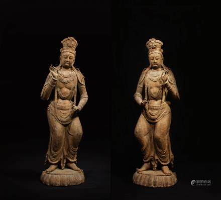 PAIR OF CHINESE WOOD CARVED STANDING GUANYIN