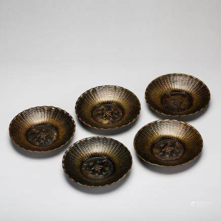 GROUP OF 5 CHINESE BRONZE PLATES