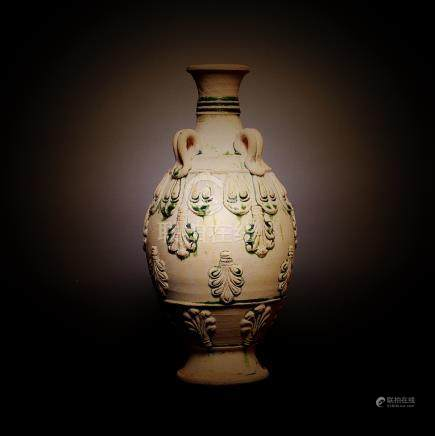 TANG DYNASTY, A CHINESE TRI-COLOR VASE WITH RELIEF-DECO