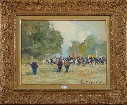 """HAGEMANS Paul (1884 - 1959) - Huile sur panneau """"La processi"""