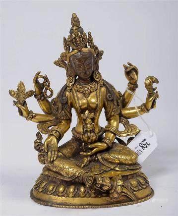 """""""Tara assise sur une fleur de lotus"""" en bronze doré. Travail"""