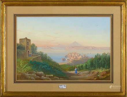 """SPINOSA E. (XIXème) - """"La baie de Naples"""" gouache sur papier"""
