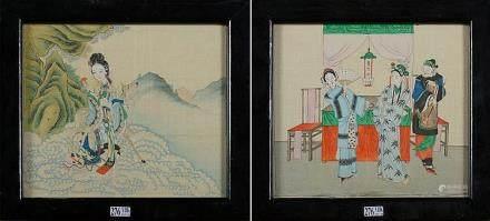 """""""Guanyin accompagnée d'un daim"""" et une """"Scène d'intérieur an"""