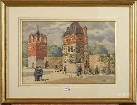 "LYNEN Amédée Ernest (1852 - 1938) - ""Remparts animés"" aquare"