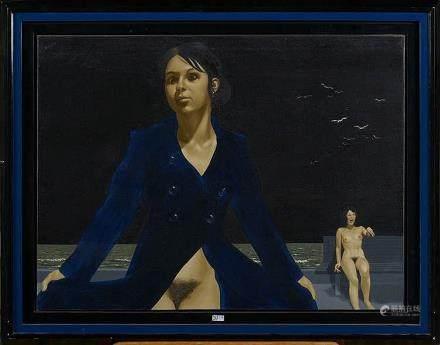 """DELCOL Roland (1942 - 2012) - Huile sur toile """"Femmes nues à"""