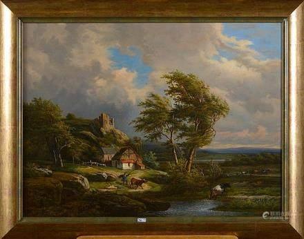 KINDERMANS Jean-Baptiste (1822 - 1876) - Huile sur panneau d