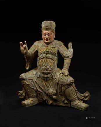 CHINESE POLYCHROME WOOD FIGURE OF GUANDI