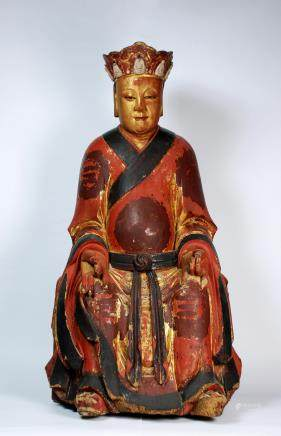 CHINESE POLYCHROME WOOD FIGURE OF KSITIGARBHA