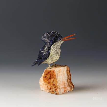 CHINESE CRYSTAL CARVED BIRD DISPLAY