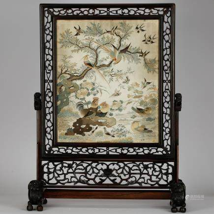 LARGE CHINESE EMBROIDERY ON HARDWOOD SCREEN