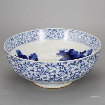 CHINESE BLUE AND WHITE LANDSCAPE BOWL
