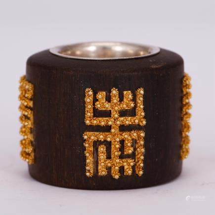 CHINESE CHENXIANG WOOD THUMB RING WITH INLAID