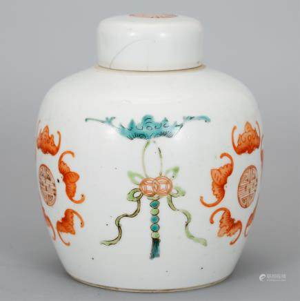 CHINESE FAMILLE ROSE PORCELAIN COVER JAR