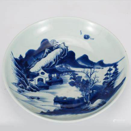 CHINESE BLUE AND WHITE LANDSCAPE CHARGER