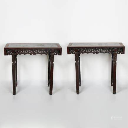 PAIR OF CHINESE ROSEWOOD ALTER TABLES