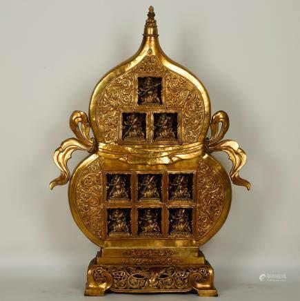 CHINESE GILT BRONZE DOUBLE GOURD BUDDHA SHRINE