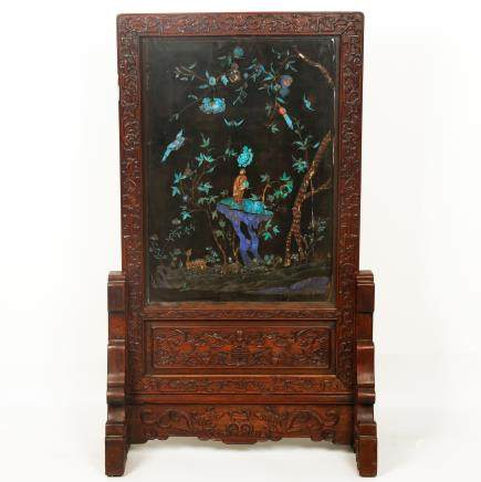 CHINESE ROSEWOOD SCREEN WITH KINGFISH FEATHER