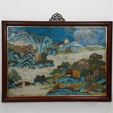 CHINESE CLOISONNE LANDSCAPE WALL PANEL