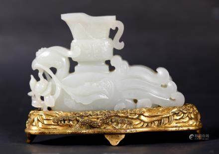 Fine 18 C Chinese Carved White Jade Phoenix Pot