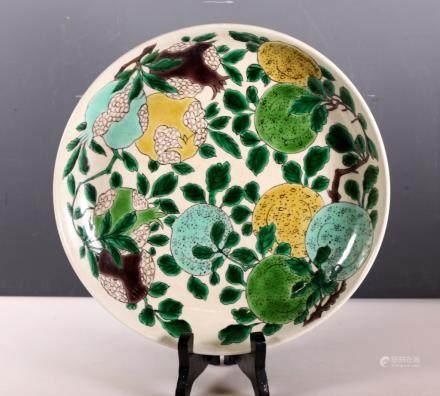 Chinese Famille Verte Porcelain Fruit Plate