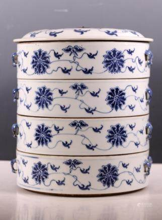 Chinese 4-Part B & W Lotus Stacked Round Boxes