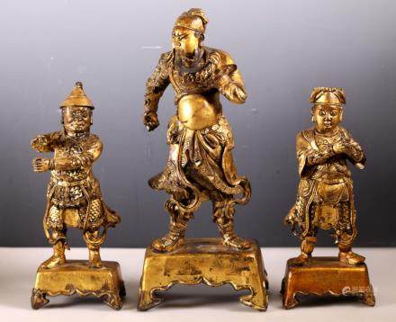 Set Chinese Bronze 17/18 C Guan Gong & Attendants