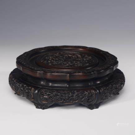 Imperial Chinese Zitan Round Stand, Fancy Edge
