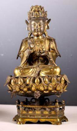Ming Dynasty Gilt Bronze Seated Guanyin on Lotus