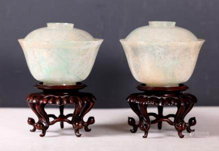 Pr Chinese Late Qing Thin Jadeite Bowls & Covers