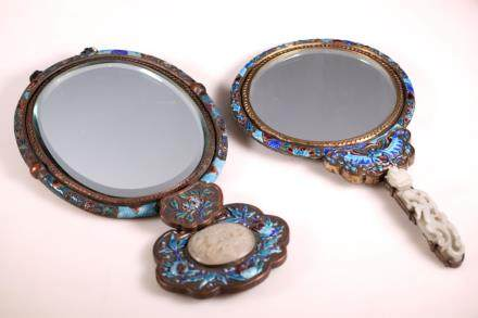 2 Chinese Enameled Silvered Mirrors; 1 Jade Handle