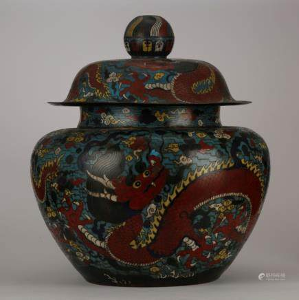 Lg Chinese Ming Cloisonne 5-Claw Dragon Jar