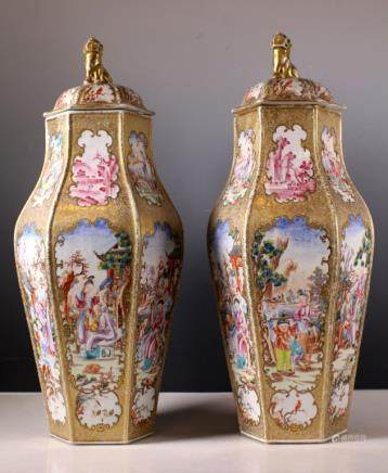 Pr 18C Chinese Famille Rose Mandarin Hexagon Vases