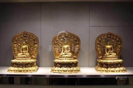 BRONZE GLITED BUDDHA FIGURE