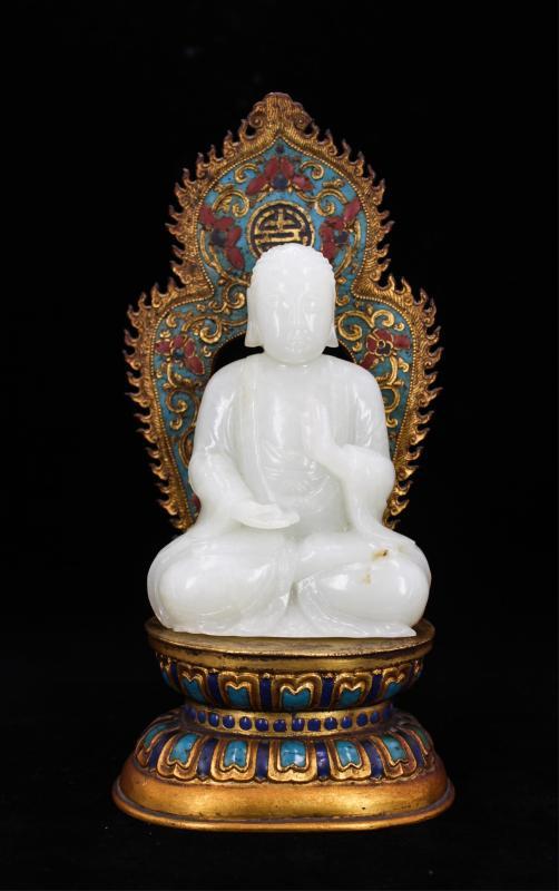 CHINESE WHITE JADE BUDDHA ON CLOISONNE STAND
