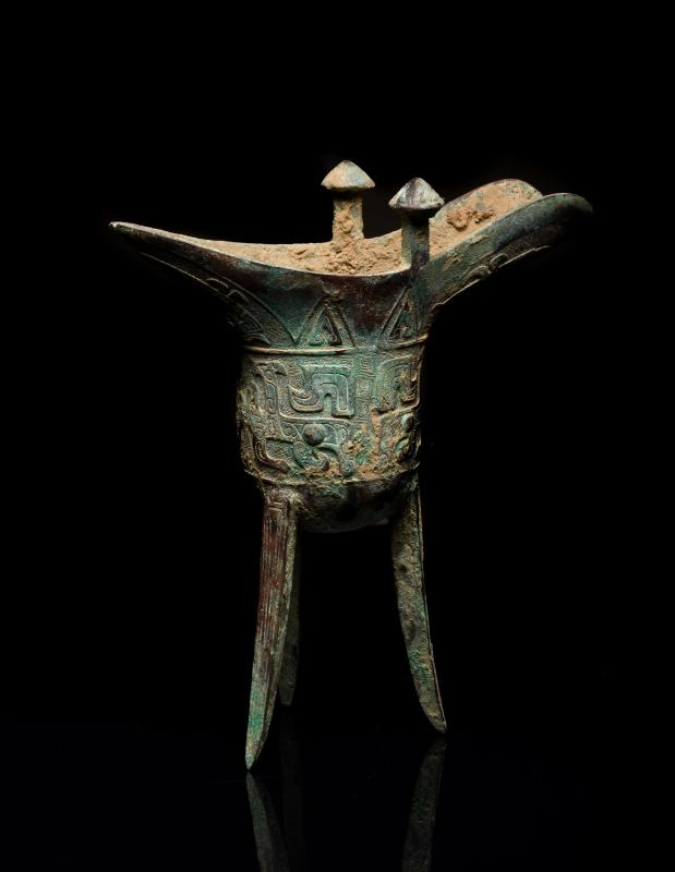 Shang Style Antique Bronze Wine Vessel