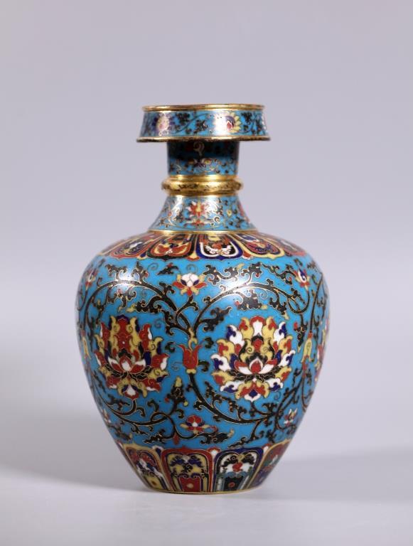 Fine Chinese Cloisonne & Gilt Bronze Vase