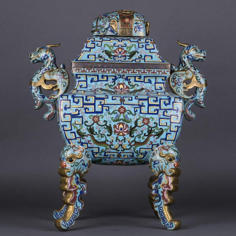 A CHINESE CLOISONNE CENSER AND COVER, LATE QING