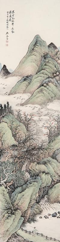 吴琴木(1894~1953)  1933年作 寒云飞瀑图 立轴 设色纸本