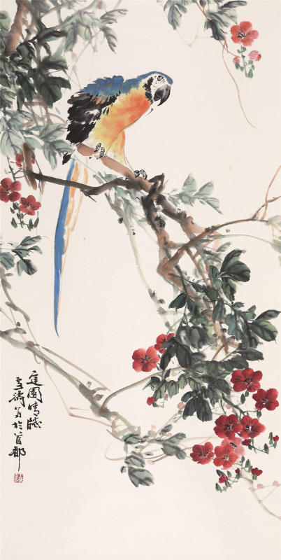 王雪涛花鸟庭园晴窗