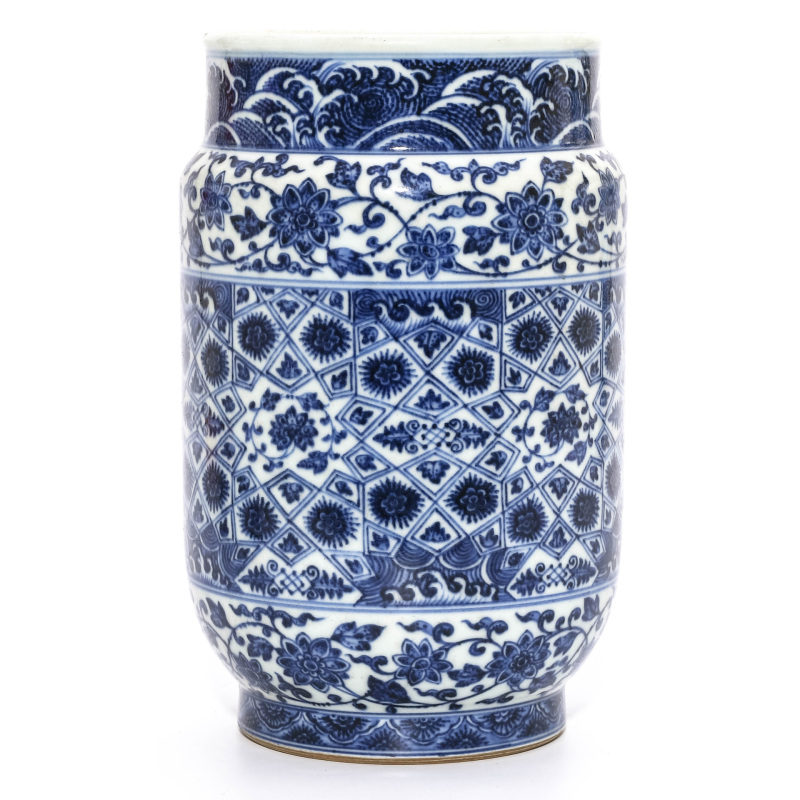 A Blue and White Floral Jar