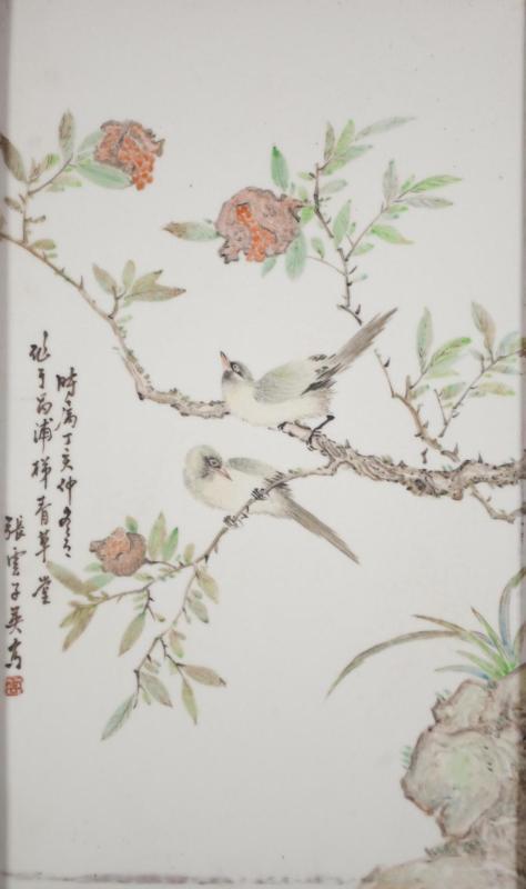 浅绛彩花鸟瓷板