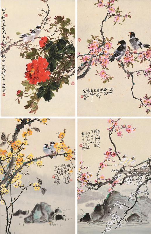 花卉四屏 镜片 设色纸本