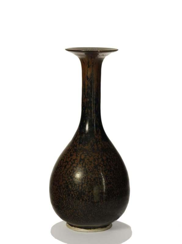仿定窑鹧鸪斑釉长颈瓶