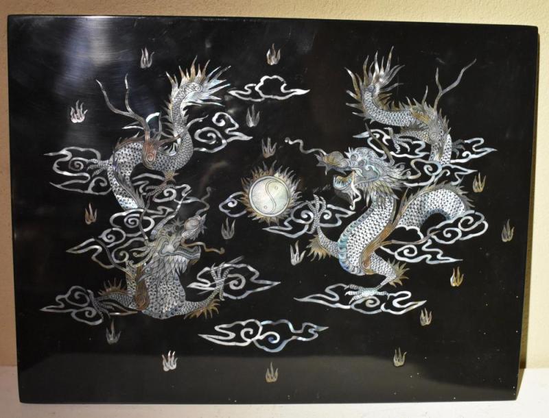 嵌螺钿龙纹饰板