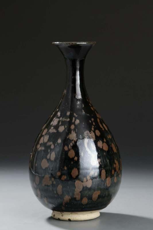 黑釉铁锈花鹧鸪斑纹玉壶春瓶