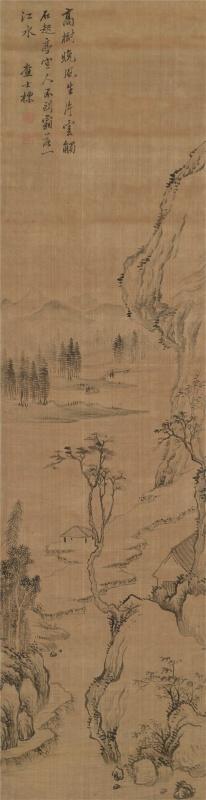 査士标(1615~1698)  山水 立轴 水墨绢本